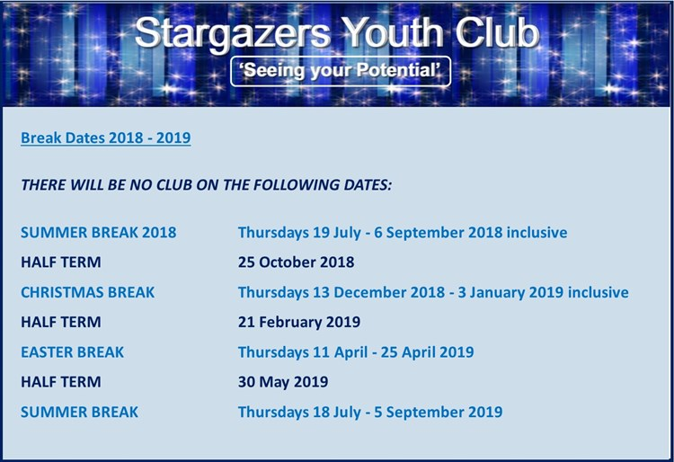 Stargazers Term Dates 2018 - 2